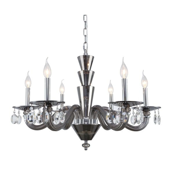 Fleur Illumination Collection Chandelier D:29.5in H:18in Lt:6 Silver Shade Finish