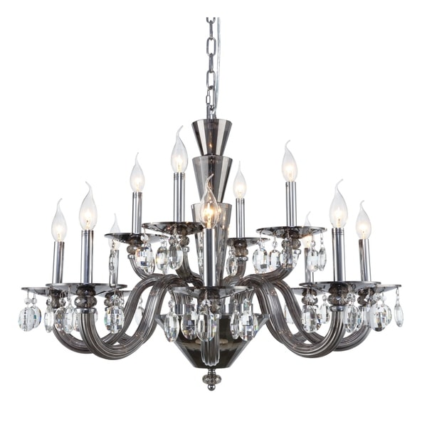 Fleur Illumination Collection Chandelier D:32in H:23in Lt:12 Silver Shade Finish