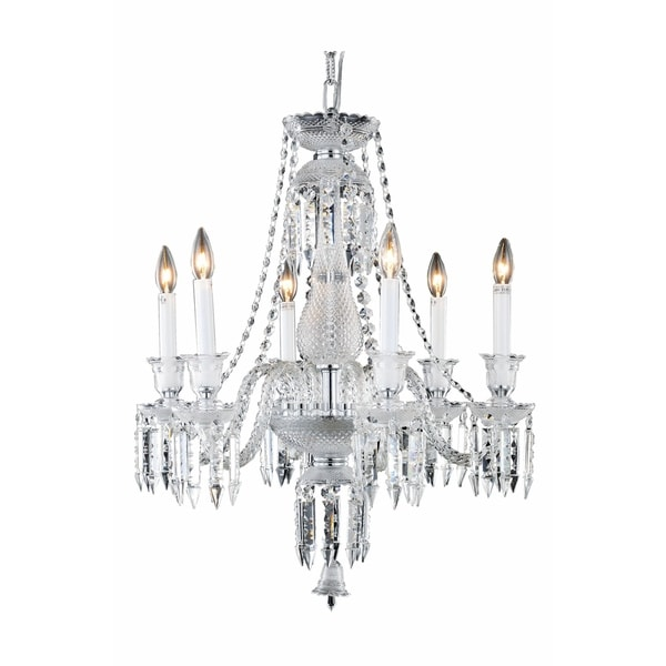 Fleur Illumination Collection Chandelier D:24in H:26in Lt:6 Chrome Finish - elegant cut crystals