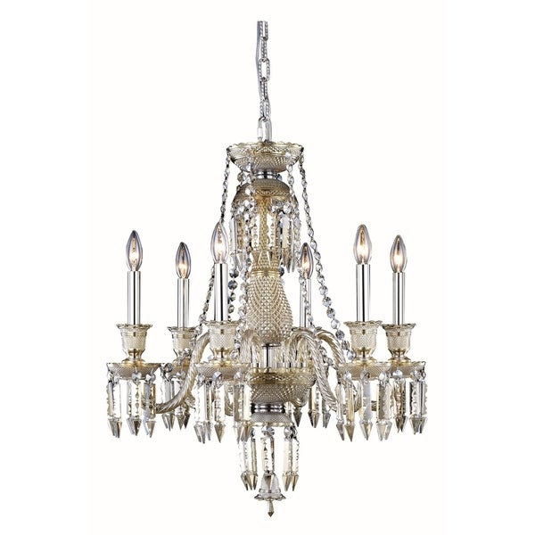 Fleur Illumination Collection Chandelier D:24in H:26in Lt:6 Golden Teak Finish