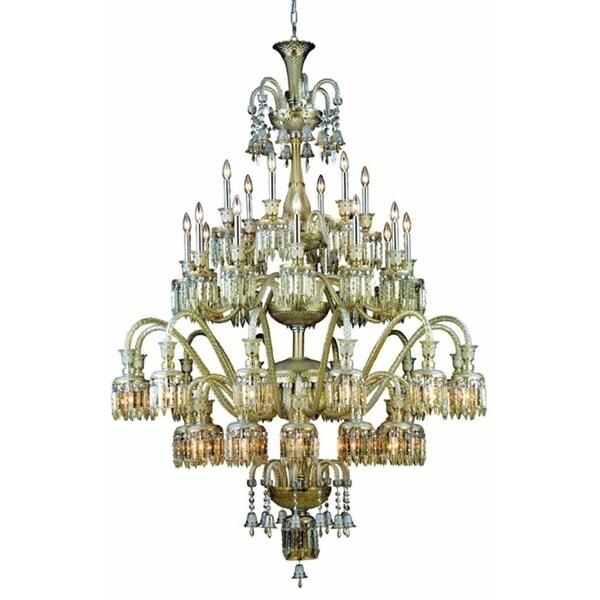 Fleur Illumination Collection Golden Teak Glass/Steel 75-inch x 54-inch 42-light Chandelier