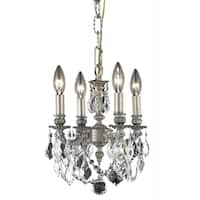 Fleur Illumination Collection Pendant D:10in H:10in Lt:4 Pewter Finish