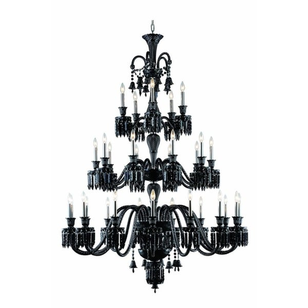 Fleur Illumination Collection Chandelier D:54in H:72in Lt:30 Black Finish - elegant cut crystals