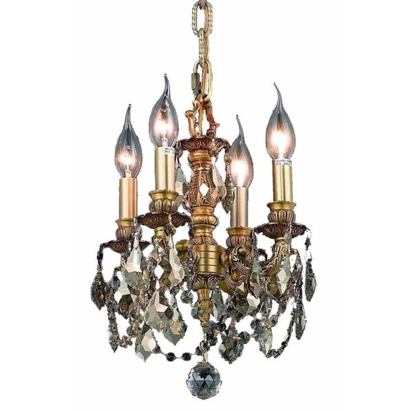 Fleur Illumination Collection 4-light French Gold Finish Brass and Crystal Pendant