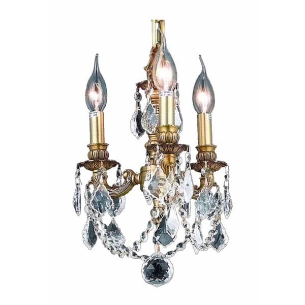 Fleur Illumination Collection French Gold Brass/Crystal 10-inch High x 10-inch Diameter 3-light Pend