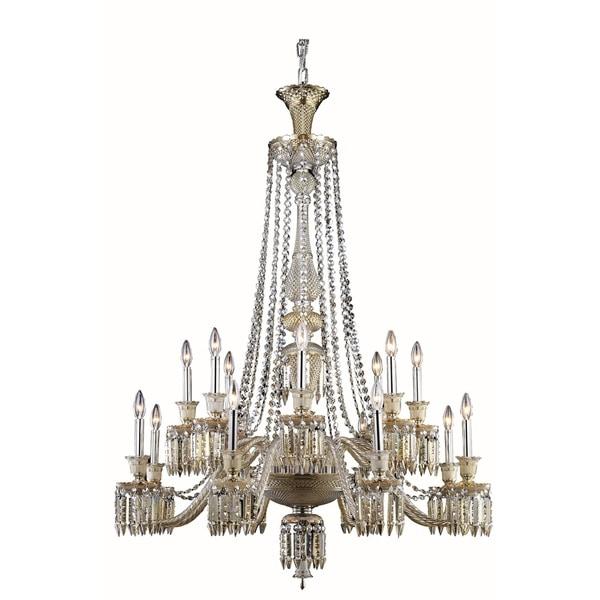 Fleur Illumination Collection 16-light Golden Teak Finish Steel Chandelier with Elegant-cut Crystals