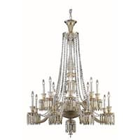 Fleur Illumination Collection 16-light Golden Teak Finish Steel Chandelier with Elegant-cut Crystals