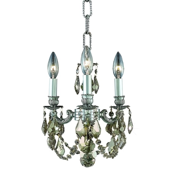 Fleur Illumination Collection Pendant D:10in H:10in Lt:3 Pewter Finish