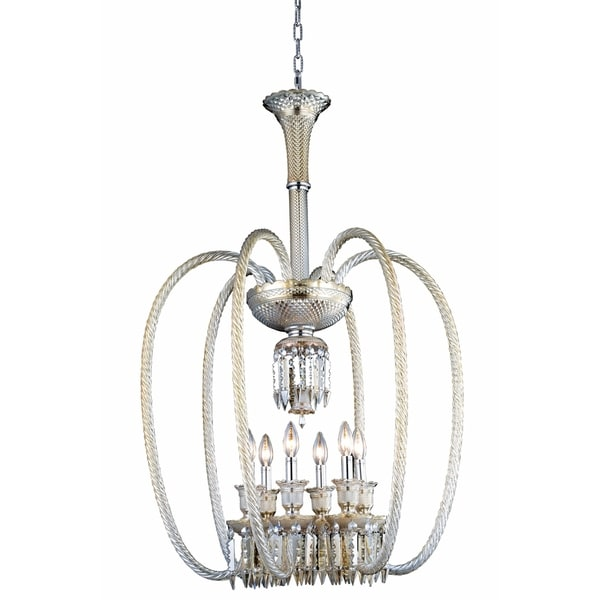 Fleur Illumination Collection Golden Teak Steel/Glass/Crystal 40-inch x 27-inch 6-light Chandelier