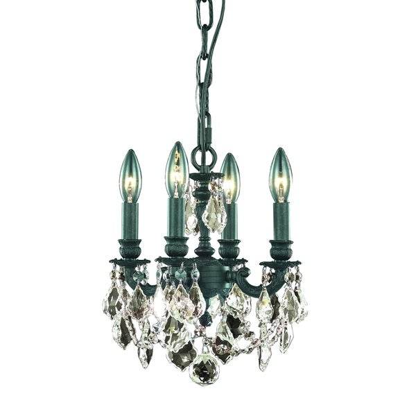 Fleur Illumination Collection Pendant D:10in H:10in Lt:4 Dark Bronze Finish