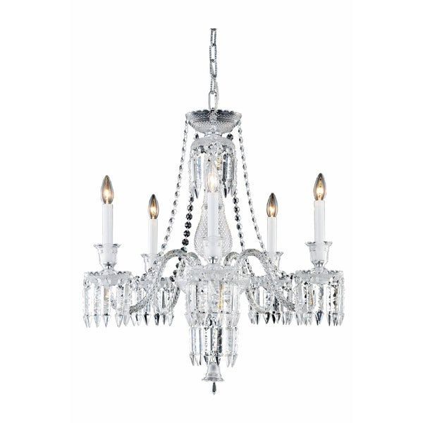 Fleur Illumination Collection Chrome/Clear/White Glass/Steel Chandelier
