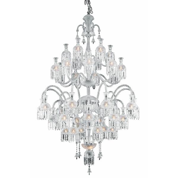 Fleur Illumination Collection Chrome Steel Glass 42-light Chandelier