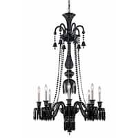 Fleur Illumination Collection Chandelier D:32in H:53in Lt:8 Black Finish - elegant cut crystals