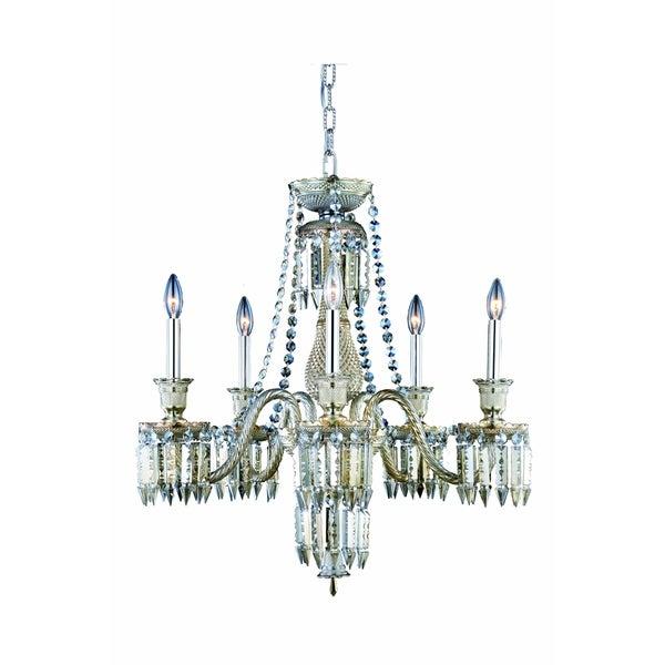 Fleur Illumination Collection Golden Teak Finish Steel and Glass Chandelier