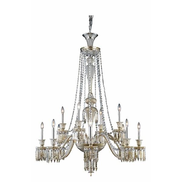 Fleur Illumination Collection Chandelier D:42in H:55in Lt:12 Golden Teak Finish - golden teak/elegant cut crystals (golden teak)