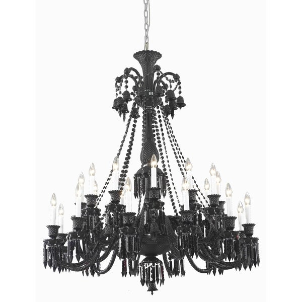Fleur Illumination Collection Black Steel 24-light Chandelier with Black Crystals