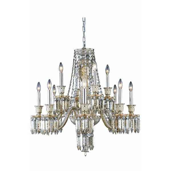 Fleur Illumination Collection Chandelier D:32in H:31in Lt:12 Golden Teak Finish - golden teak/elegant cut crystals (golden teak)