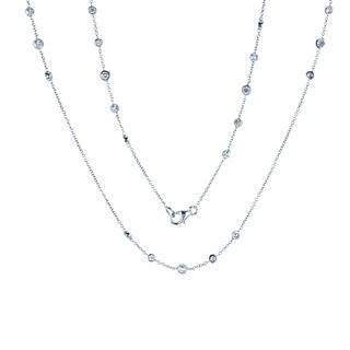 Annello by Kobelli 14k Gold 1 2/5ct TDW Diamond 30 Inch Station Necklace