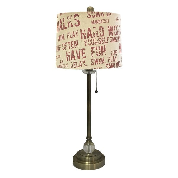 """Royal Designs 28"""" Antique Brass Lamp with Cream and Red Relaxing Phrase Print Drum Hardback Lamp Shade"""
