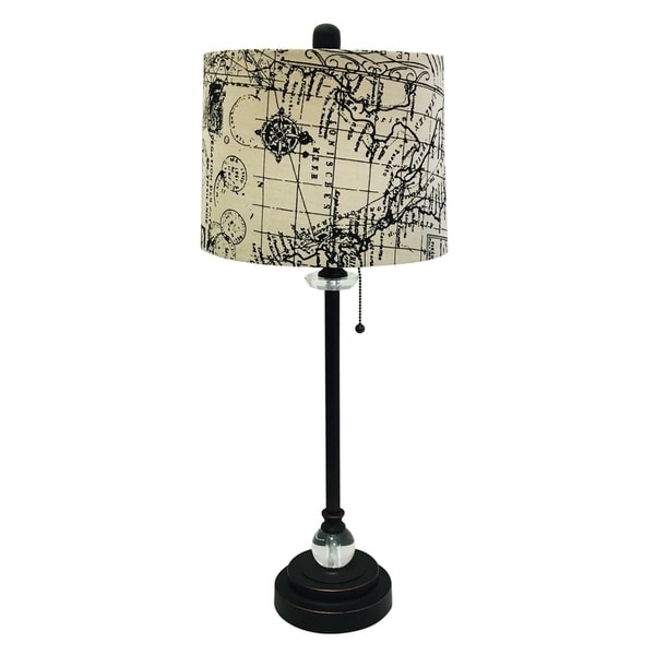 "Royal Designs 28"" Oil Rub Bronze Lamp with Vintage Map Postcard Design Drum Hardback Lamp Shade"