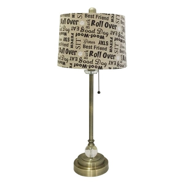 "Royal Designs 28"" Antique Brass Lamp with Cream and Brown Dog Lover Print Drum Hardback Lamp Shade"