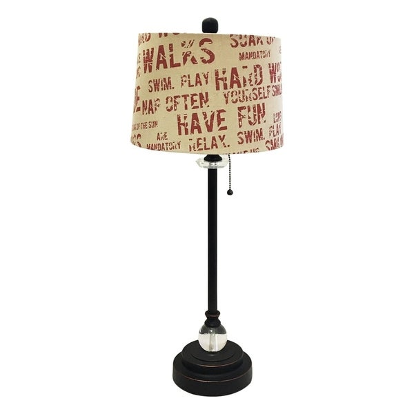 "Royal Designs 28"" Oil Rub Bronze Lamp with Cream and Red Relaxing Phrase Print Drum Hardback Lamp Shade"