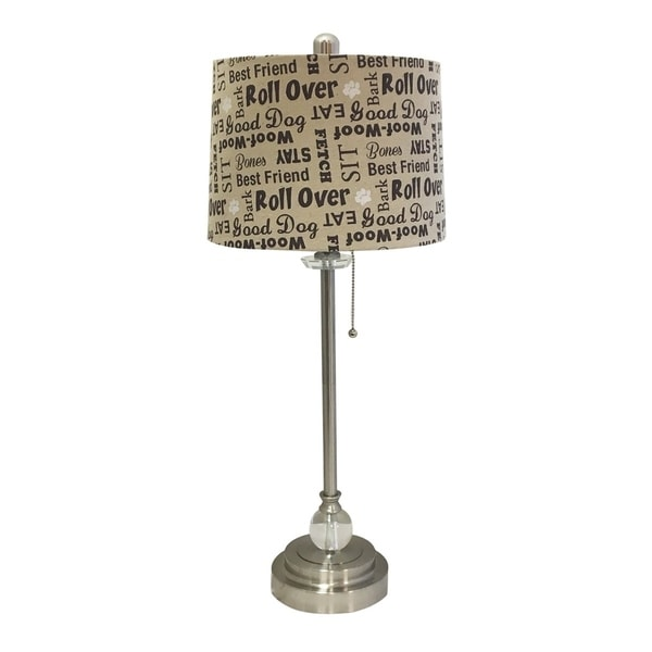 "Royal Designs 28"" Brushed Nickel Lamp with Cream and Brown Dog Lover Print Drum Hardback Lamp Shade"