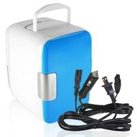 Zone Tech Car Cooling and Warming Mini Fridge - 2-in-1 BluePortable Thermoelectric System with AC/DC and USB Adapters