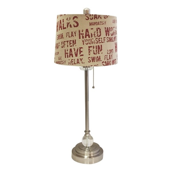"""Royal Designs 28"""" Brushed Nickel Lamp with Cream and Red Relaxing Phrase Print Drum Hardback Lamp Shade"""