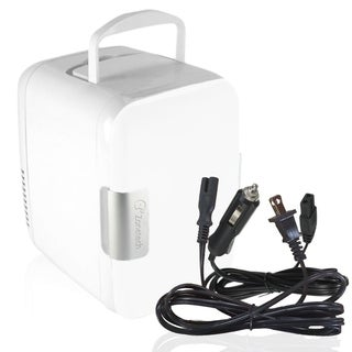 Zone Tech Car Cooling and Warming Mini Fridge - 2-in-1 White Portable Thermoelectric System with AC/DC and USB Adapters
