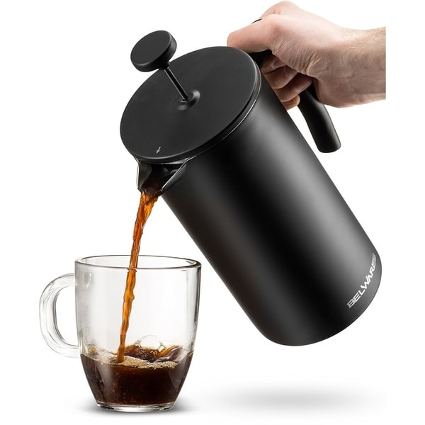 Belwares Stainless Steel Large French Press Coffee Maker 34oz. Opens flyout.