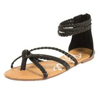 Blue Womens LANNY-4 Fashion Braided Sandals