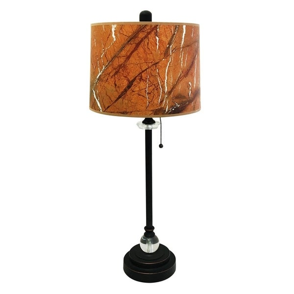 "Royal Designs 28"" Oil Rub Bronze Buffet Lamp with Orange Marble Texture Hardback Lamp Shade"