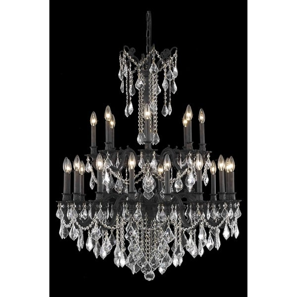 Fleur Illumination Collection Dark Bronze Finish Chandelier with Royal-cut Crystals