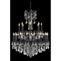 Fleur Illumination Collection Chandelier D:36in H:43in Lt:24 Dark Bronze Finish (Royal Cut Crystals)