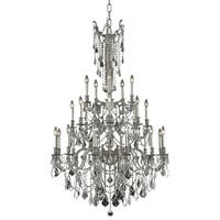 Fleur Illumination Collection Chandelier D:38in H:62in Lt:25 Pewter Finish (Elegant Cut Crystals)