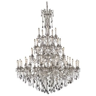 Fleur Illumination Collection Pewter Metal Crystal 55-light Chandelier