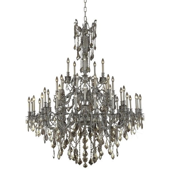 Fleur Illumination Collection Chandelier D:54in H:66in Lt:45 Pewter Finish (Royal Cut Crystals)