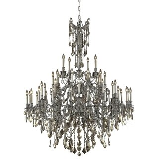 Fleur Illumination Collection 45-Light Pewter Finish Chandelier with Royal-Cut Crystals