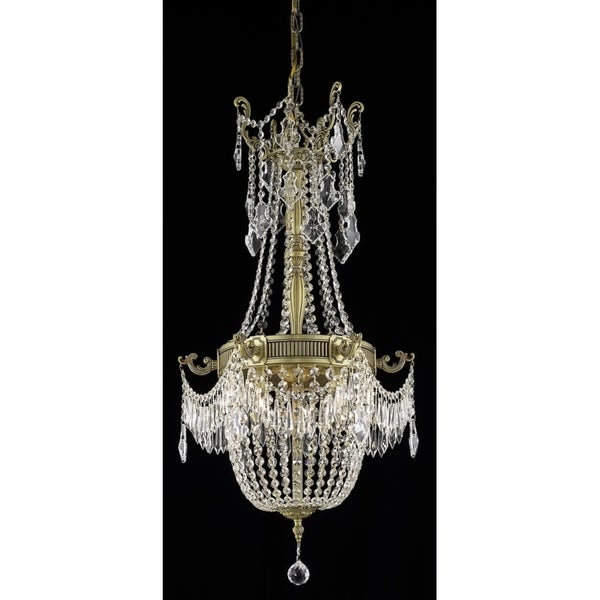 Fleur Illumination Collection Pendant D:18in H:28in Lt:6 French Gold Finish (Elegant Cut Crystals)