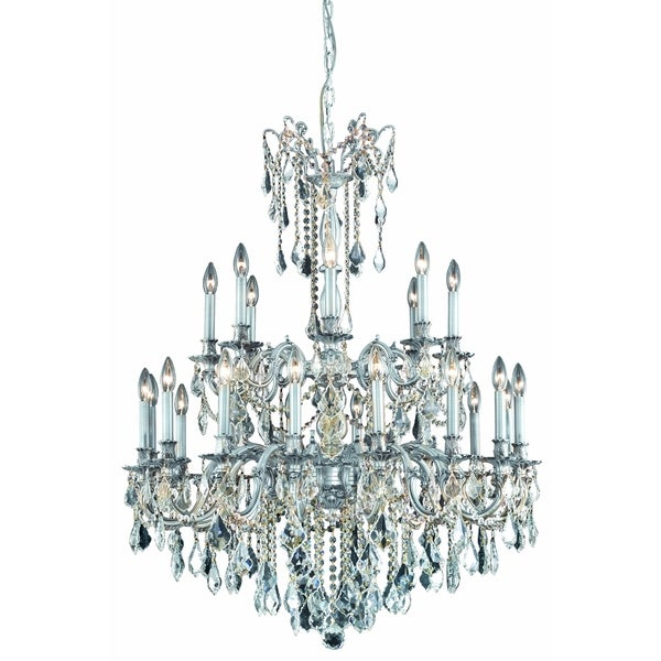 Fleur Illumination Collection Pewter Metal 24-light Chandelier with Elegant Cut Crystals