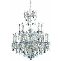 Fleur Illumination Collection Chandelier D:36in H:43in Lt:24 Pewter Finish (Elegant Cut Crystals)