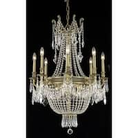 Fleur Illumination Collection Chandelier D:26in H:37in Lt:12 French Gold Finish (Elegant Cut Crystals)