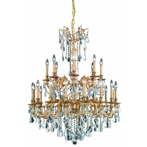Fleur Illumination Collection French Gold Metal 42-inch High x 36-inch Diameter 24-light Chandelier with Elegant-cut Crystal
