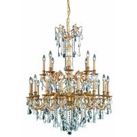 Fleur Illumination Collection Chandelier D:36in H:43in Lt:24 French Gold Finish (Elegant Cut Crystals)