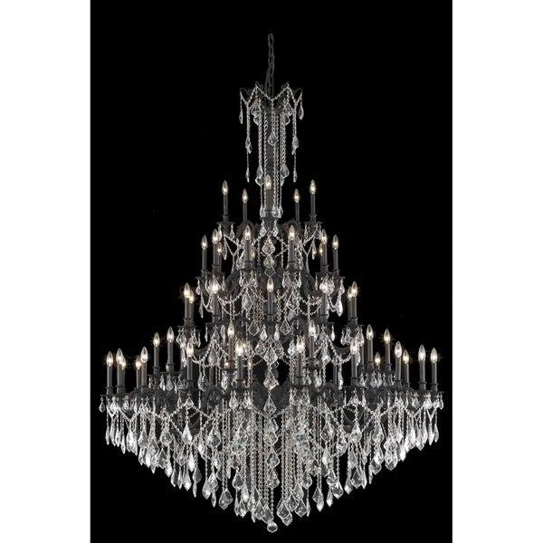 Fleur Illumination Collection 55-light Dark Bronze Finish Chandelier with Elegant-cut Crystals