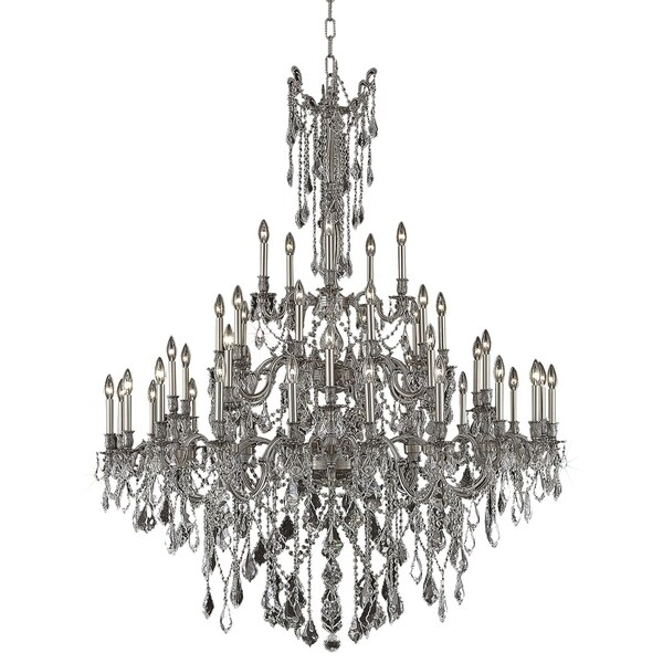 Fleur Illumination Collection Chandelier D:54in H:66in Lt:45 Pewter Finish (Elegant Cut Crystals)
