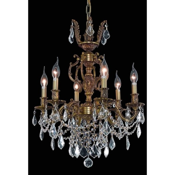 Fleur Illumination Collection Chandelier D:20in H:23in Lt:6 French Gold Finish (Elegant Cut Crystals)