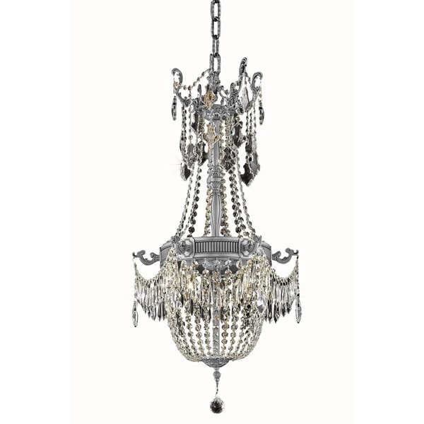 Fleur Illumination Collection Pendant D:18in H:38in Lt:6 Pewter Finish (Royal Cut Crystals) - royal cut/crystal (clear)
