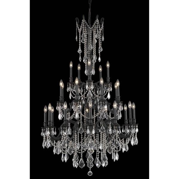Fleur Illumination Collection Chandelier D:38in H:62in Lt:25 Dark Bronze Finish (Elegant Cut Crystals)
